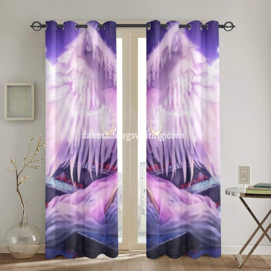 """Ange Blanc Blonde Escalier Fantaisie Lune Staff Wand Wings Woman Dining Window Drapes 2 Panel Set, 52"""" X 84"""", Polyester twill fabric."""