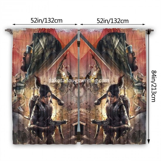 """Playerunknown's Battlegrounds Living Room Window Drapes 2 Panel Set, 52"""" X 84"""", Polyester twill fabric."""