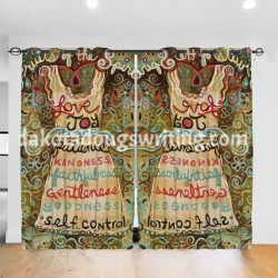 """Fruits Of The Spirit Bedroom Window Drapes 2 Panel Set, 52"""" X 84"""", Polyester twill fabric."""